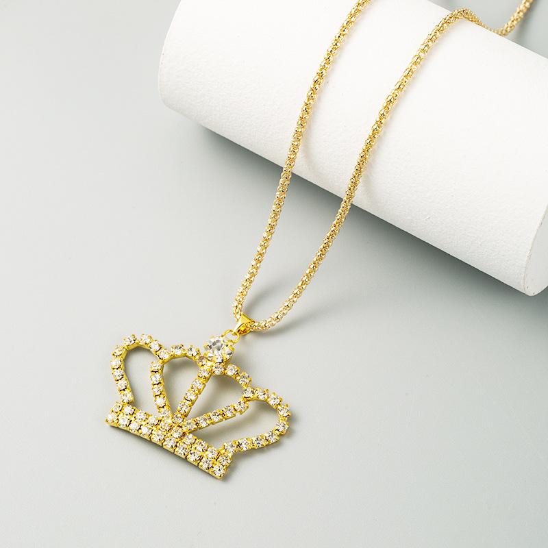 fashion  full diamond crown hollow long diamond alloy necklace NHLN244911