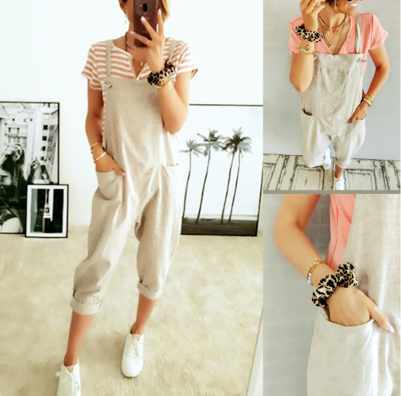 Cross border 2020 summer new Amazon hot selling European and American pocket casual strap solid color women's Jumpsuit