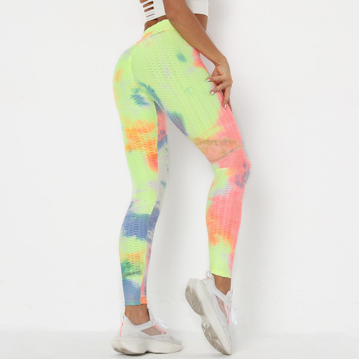 stitching tie-dye ink jacquard slim fitness leggings NSLX8998
