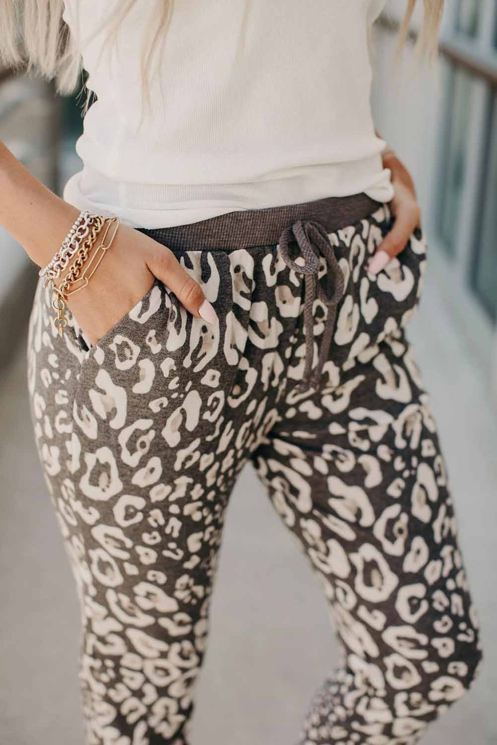 Leopard Print Casual Pants Women's Autumn New Style Tether Belt Drawstring Ankle Pants  NSSI2319