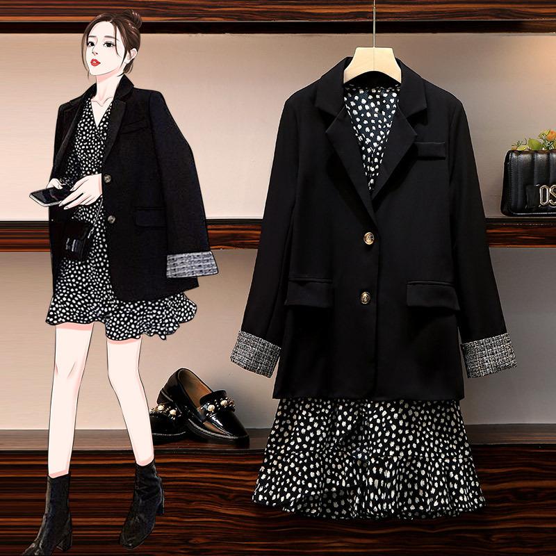 大码女装2020秋季显瘦遮肉荷叶边鱼尾裙雪纺碎花连衣裙西装两件套