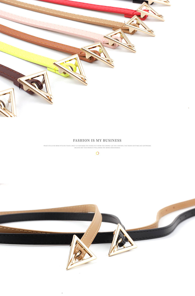 Korea new simple new triangle buckle belts  fashion hipsters  wild triangle personalized thin belts nihaojewelry wholesale NHPO216320