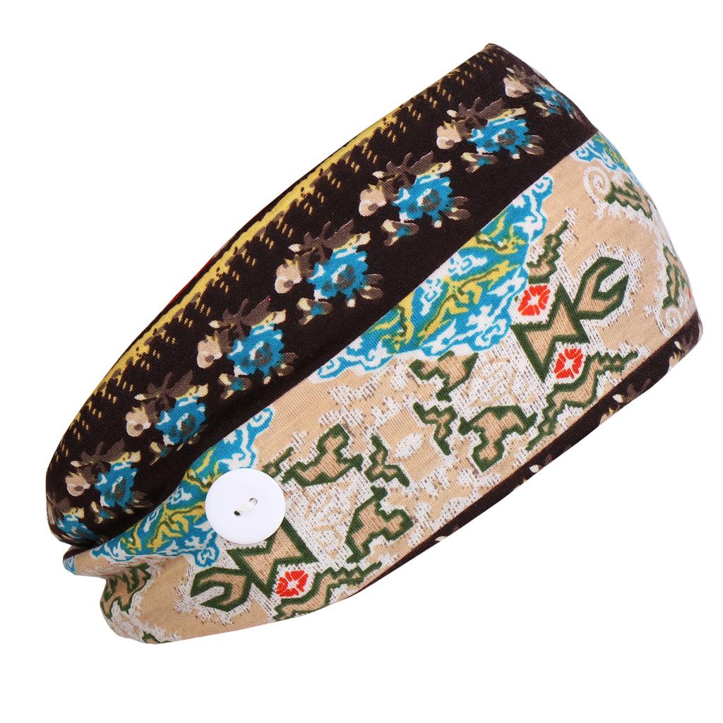 Korean ethnic style button anti-le cotton turban head jewelry yoga sports elastic headband  NHHV238791