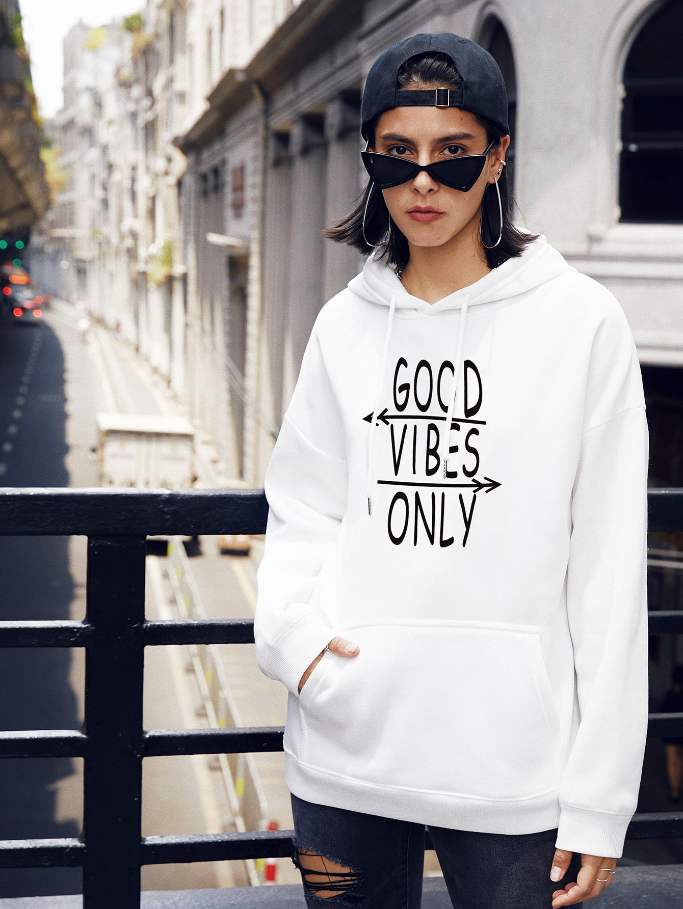 autumn and winter women's street casual hooded sweater letter printing NSSN1881
