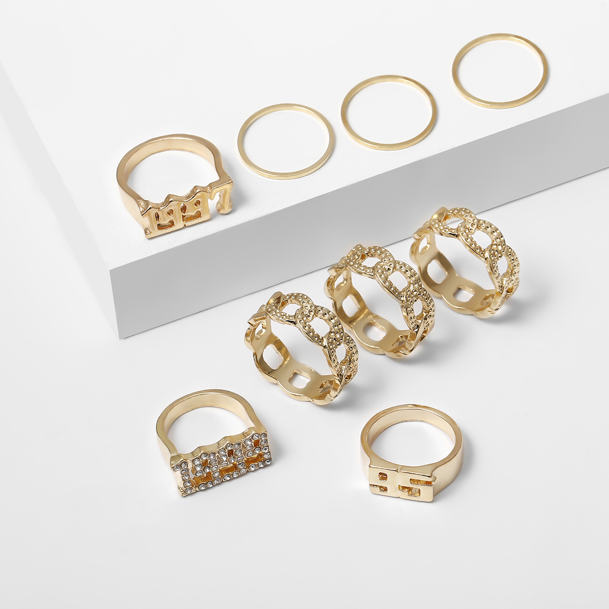 Fashion Exaggerated Diamond Digital Joint Ring Combination Set Ring NHXR201318