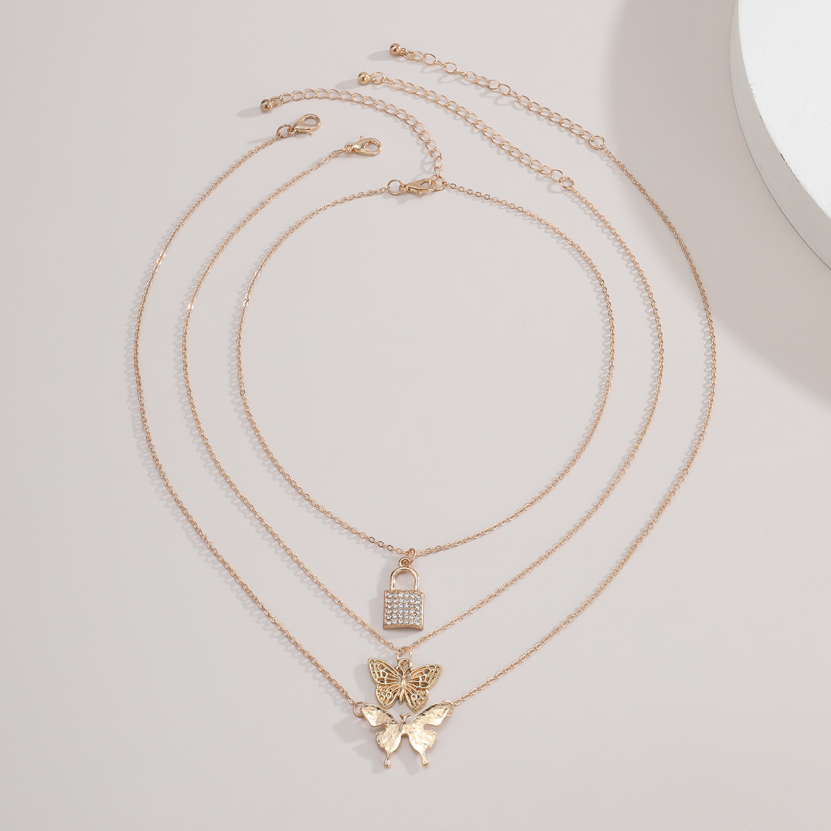 Fashion simple multilayer micro diamond lock retro butterfly alloy necklace for women NHXR244552