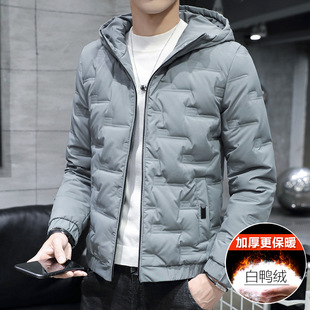 Winter men's short lightweight warm down jacket tooling plus fat plus size fat loose casual trendy jacket