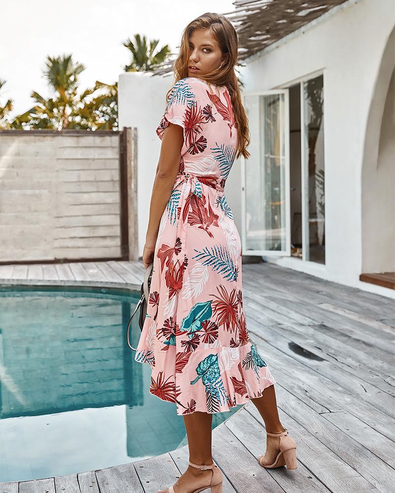 spring and summer printed holiday dress wholesale NSKA1045