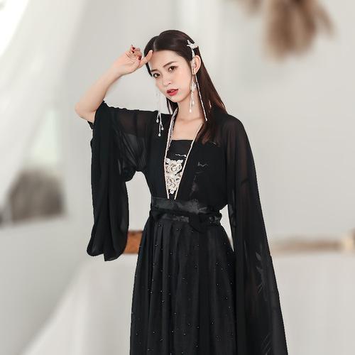 Hanfu women's Fairy Spirit elegant, ancient country double breasted waist Ru skirt super fairy student set