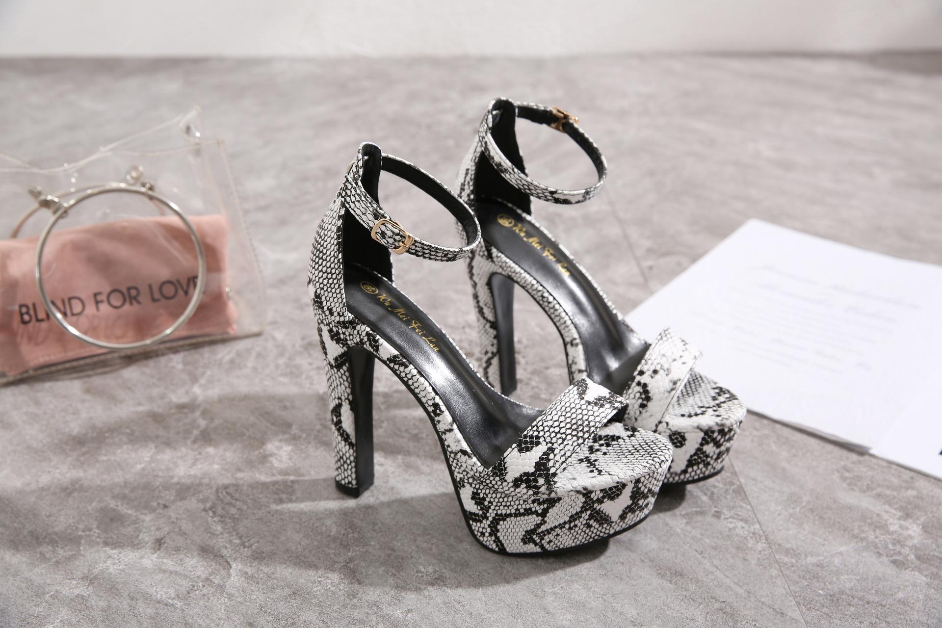 New Women's Shoes Sexy Snakeskin Open Toe Buckle High Heel Sandals NHSO193031