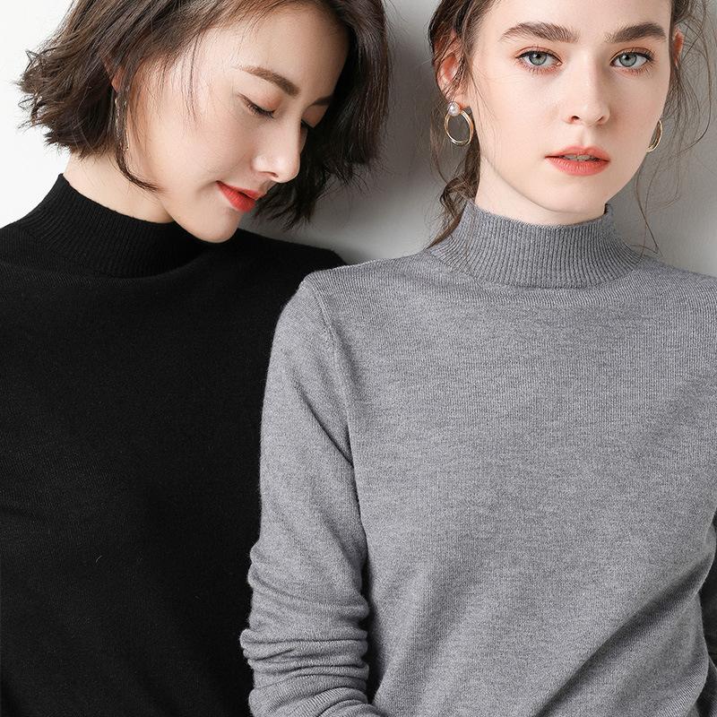 打底衫女春秋季羊绒衫毛衣洋气内搭半高领黑色针织衫上衣韩版潮
