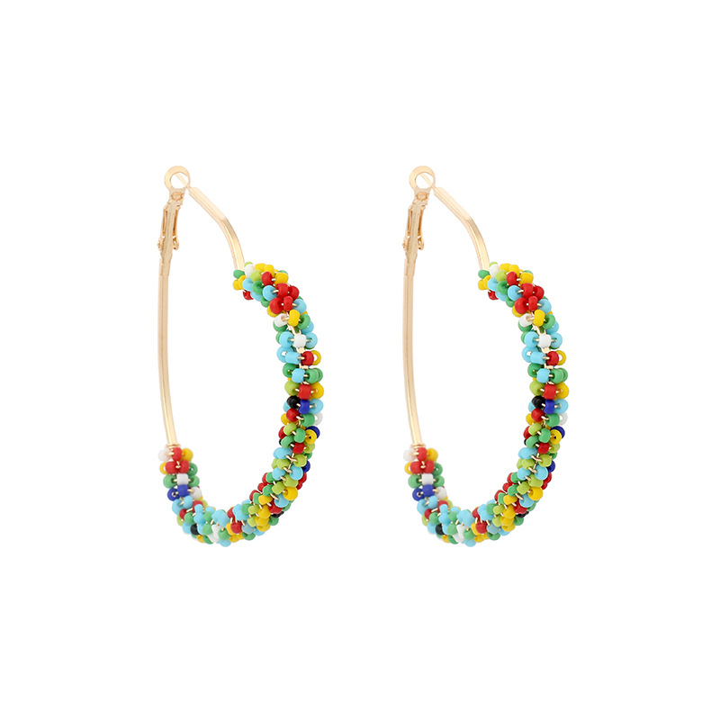 exaggerated rice beads love handwoven color niche bohemian ethnic earrings NHRN241632