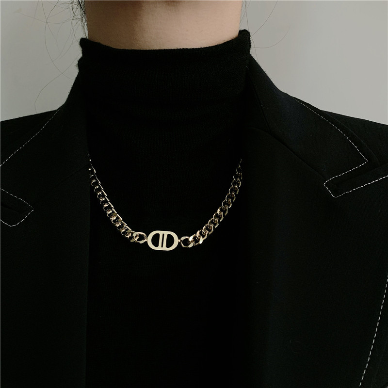 gold thick chain letter titanium steel necklace  NHYQ283225