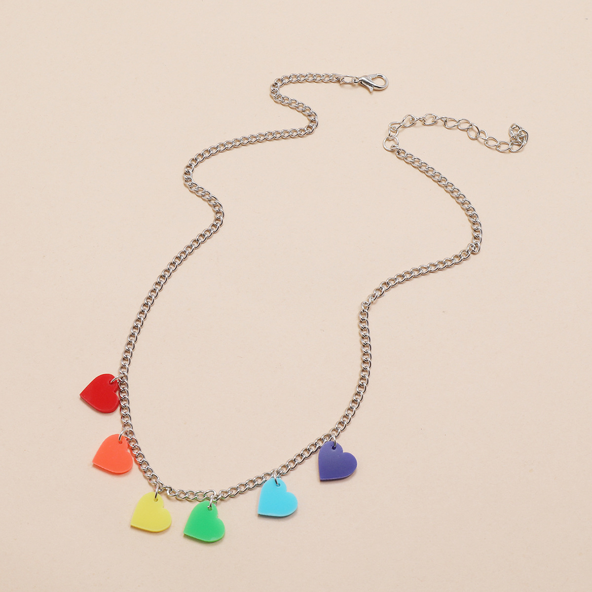Simple daily clear new silver chain sixcolor heartshaped love necklace NHPV243695
