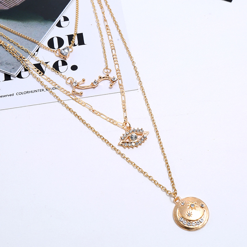 Vintage Bohemian Necklace Fashion Multilayer Circle Devil's Eye Heart Necklace NHKQ204457