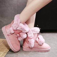 【正品】雪地靴女款加厚时尚保暖棉鞋2020冬季中筒加绒大棉短靴子