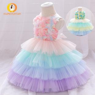 2021 European and American new children's baby one-year-old dress flower girl flower puffy cake dress wedding girl princess dress