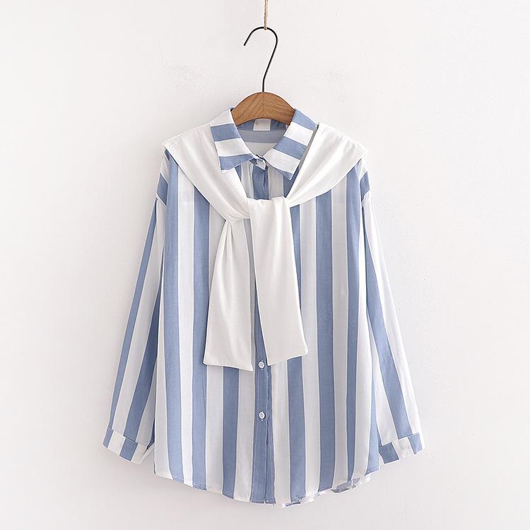 日系长袖衬衫女2020春秋新款方领宽松披肩条纹直筒百搭棉粉色上衣