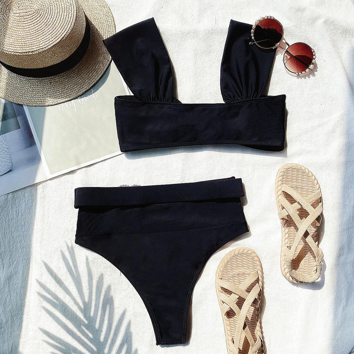 New Bikini Bikini Solid Color Love Swimsuit Outer Single Lady Swimwear wholesale nihaojewelry NHDA228406