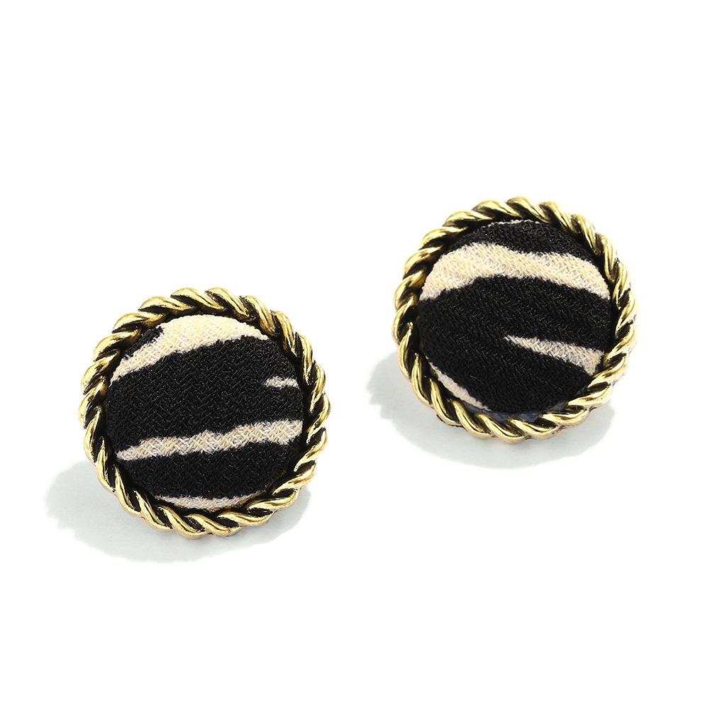 retro leopard print plush round earrings  NHJQ284949
