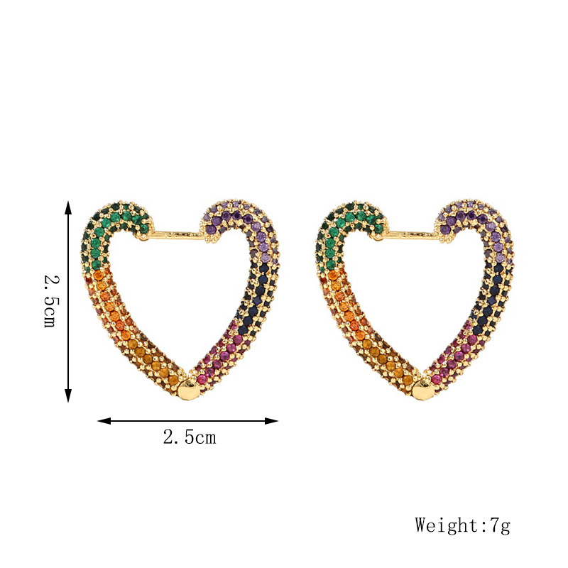 cute copper inlaid zirconium heart earrings  NHLA285624