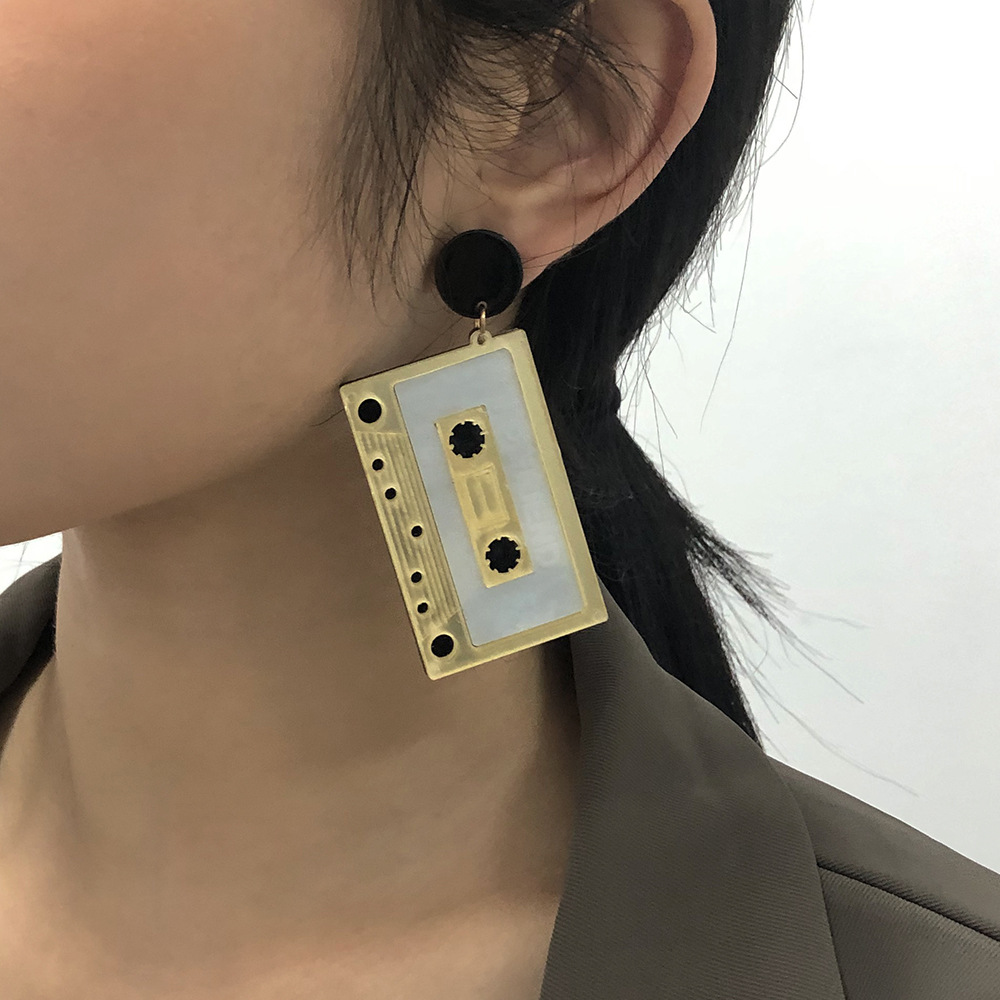 tape exaggerated funny hip-hop style geometric earrings NHMD277285