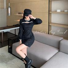 實拍實價2020冬天新款韓版赫本風洋氣優雅絲絨百搭心機鏤空連衣裙