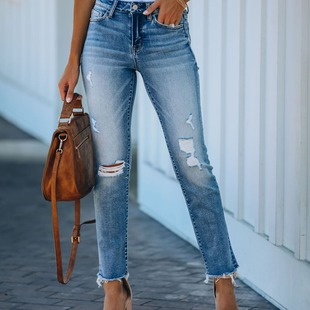 European and American cross-border aliexpress ebay autumn and winter new style European and American ripped jeans personality straight-leg jeans with raw edges