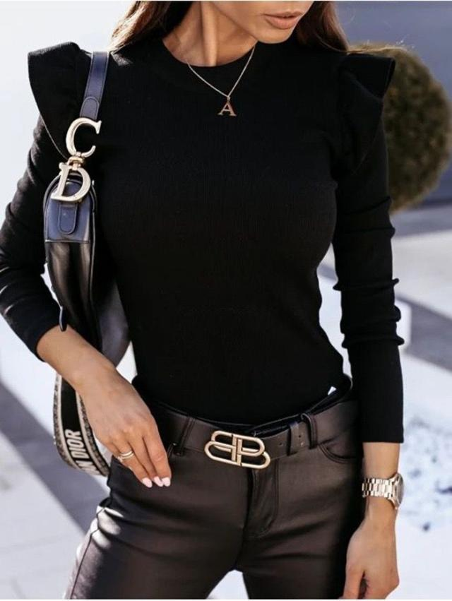 new round neck solid color long-sleeved slim bottoming shirt  NSYD3812