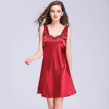 夏季丝绸性感睡裙 女士夏季花边无袖宽松大码睡衣厂家批发