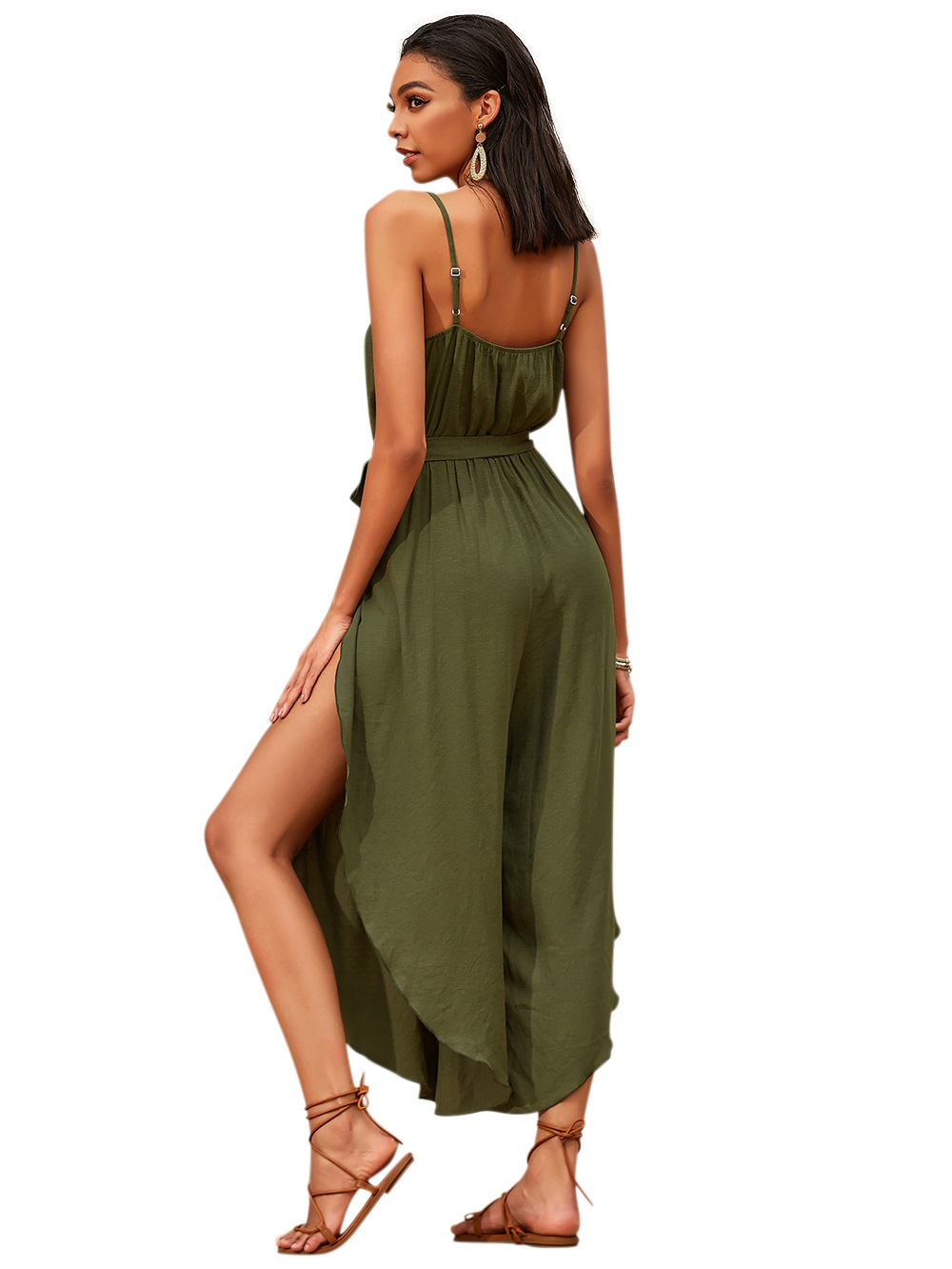 summer new sling jumpsuit women's high-waisted thin wide-leg fashionable irregular pants NSDF1542