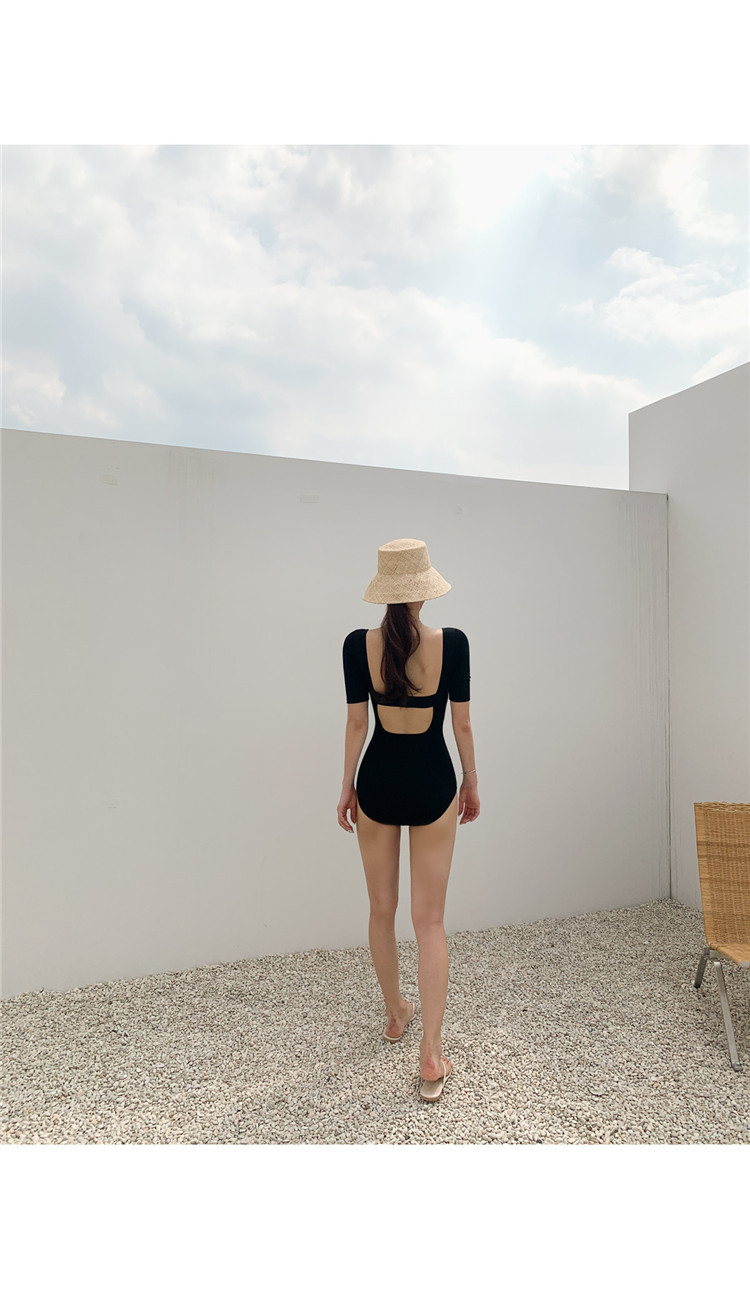 triangle one-piece short-sleeved sexy backless swimsuit  NSHL3996
