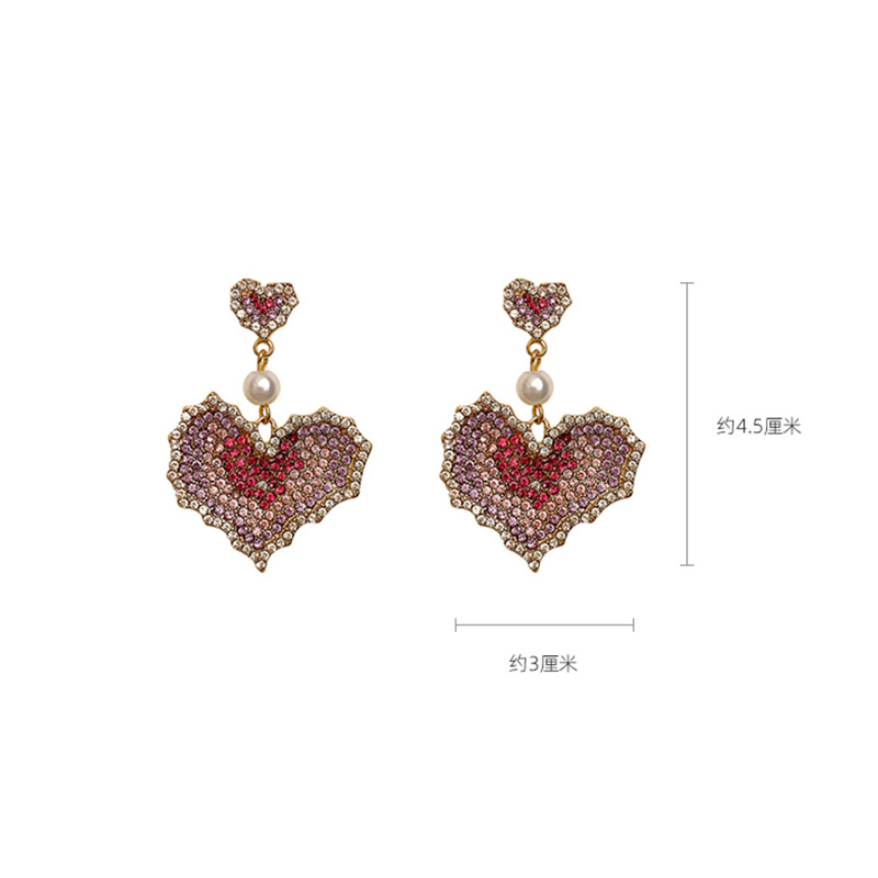 Color full diamond size love earrings earrings female earrings silver pin NHNT206027