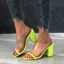 欧美亚马逊现货大码圆头粗跟蛇纹透明拖鞋女后空一字高跟凉鞋外贸
