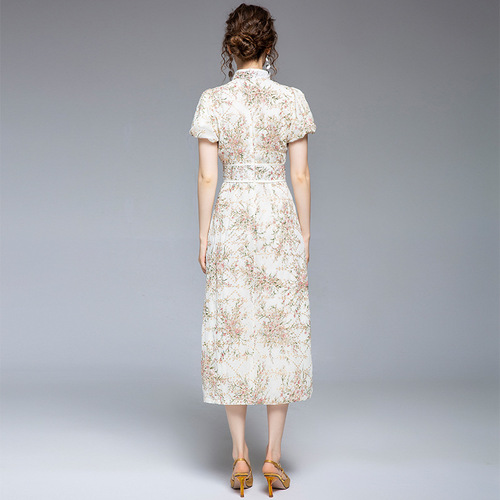 Summer floral chinese dress qipao retro puff sleeve improved version pearl buckle cheongsam floral embroidery high waist dress
