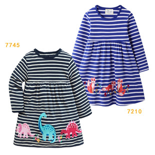 Children's clothes, children's skirts, European and American factory direct autumn style children's skirts, European and American autumn long-sleeved striped embroidered skirts on new wholesale