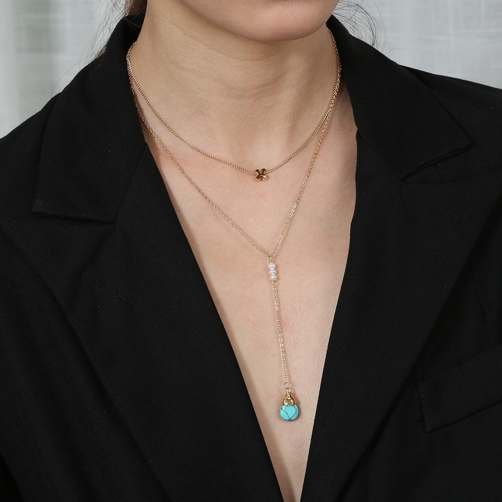 natural turquoise drop pendant letter X necklace NHAN312988