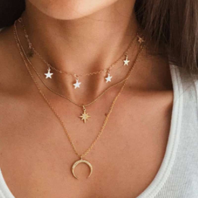 Fashion simple niche tide star moon multilayer five-pointed star clavicle chain necklace  NHGY249562