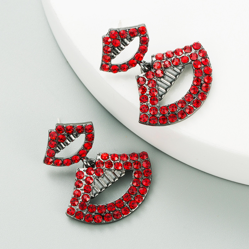 exaggerated sexy lips long alloy diamond-studded super flash  earrings NHLN285231