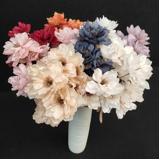 Wedding fake flowers 3 peony artificial flowers European-style decoration 9 flower arrangements Home decoration INS factory customization