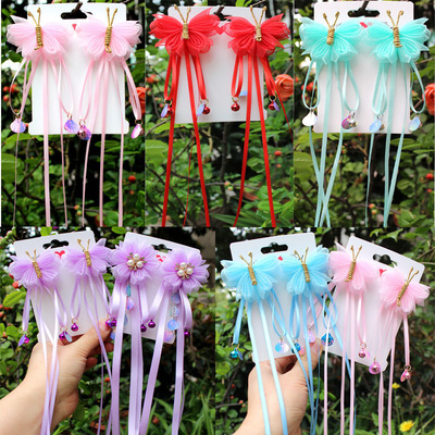 chinese hanfu hair accessory for girls Children ancient Ribbon Hair Ornament butterfly Princess super fairy snow yarn headdress hairpin ancient hairpin