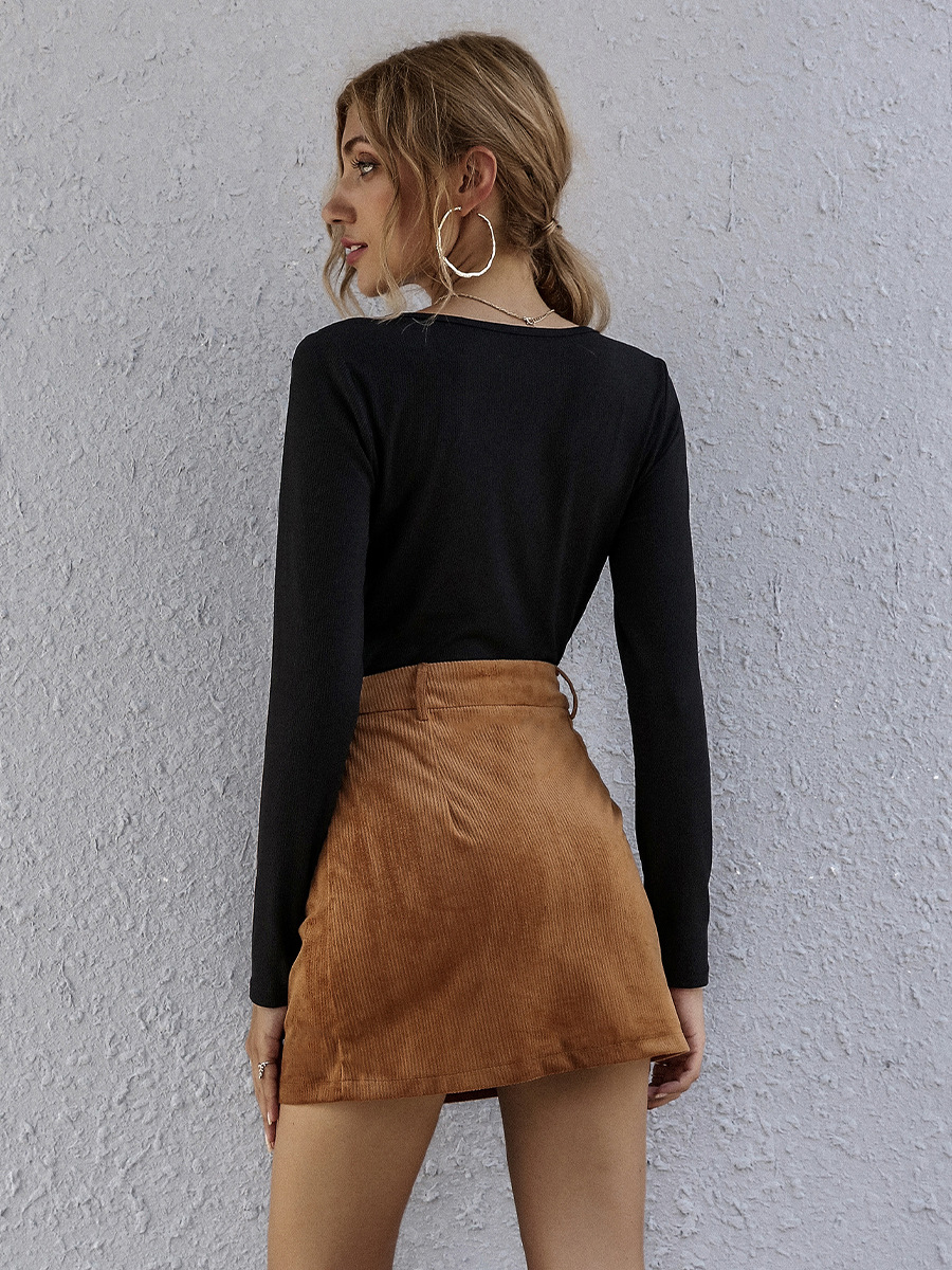 Hot Sale New Autumn and Winter Solid Color High Waist A-line Skirt  NSAL1945