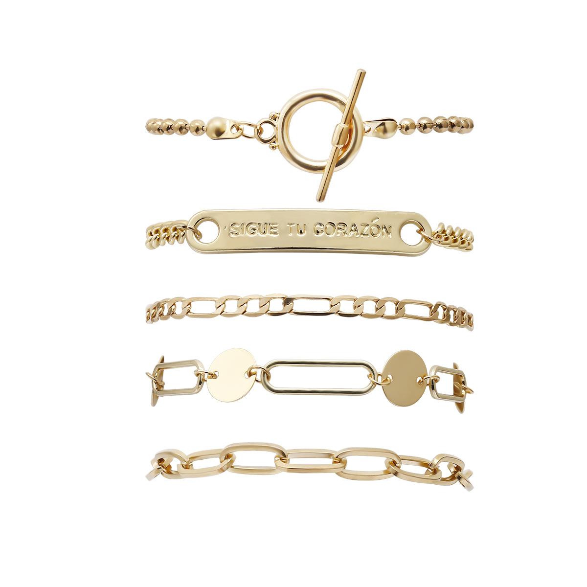 New Fashion Rectangle Alphabet Nameplate Bracelet Simple OT Buckle Mash-up Chain Set Bracelet NHXR204530