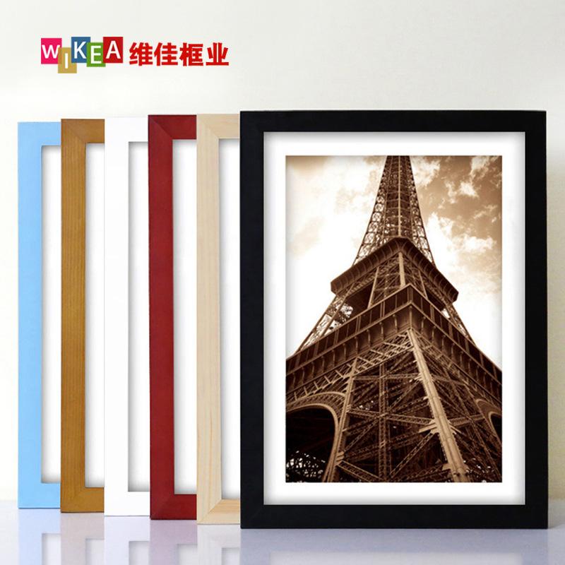 实木相框挂墙摆台7寸5 6 12创意六寸A4K8 a3相册照片影楼画框架裱
