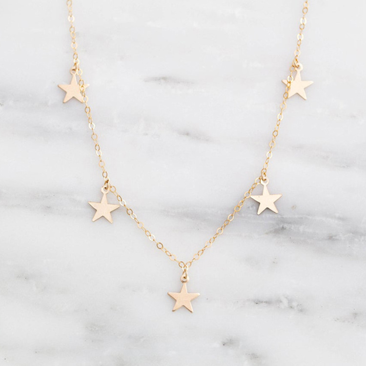 Korean fashion star 316L titanium steel 14K gold plated short necklace  NHTF245951