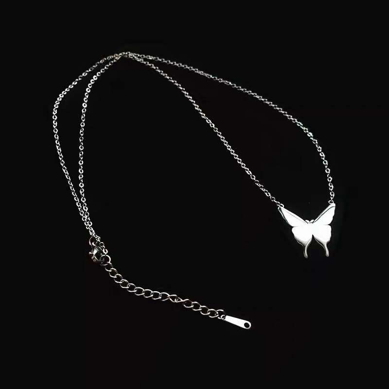 Korea's new titanium steel simple butterfly wild  long clavicle chain with bracelet set NHYQ242985