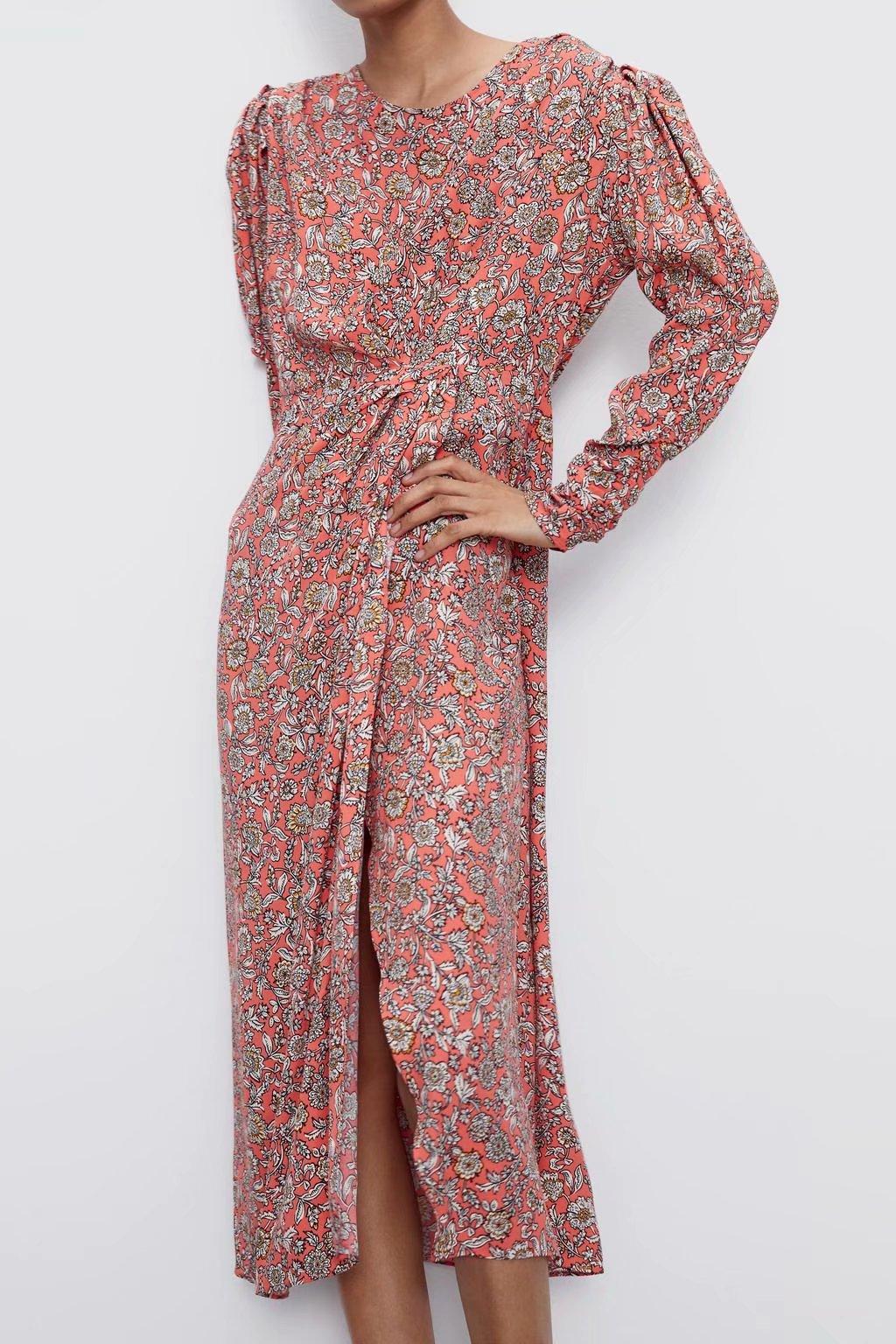 Wholesale Spring Pleated Print Long Sleeve Long Dress NHAM201534