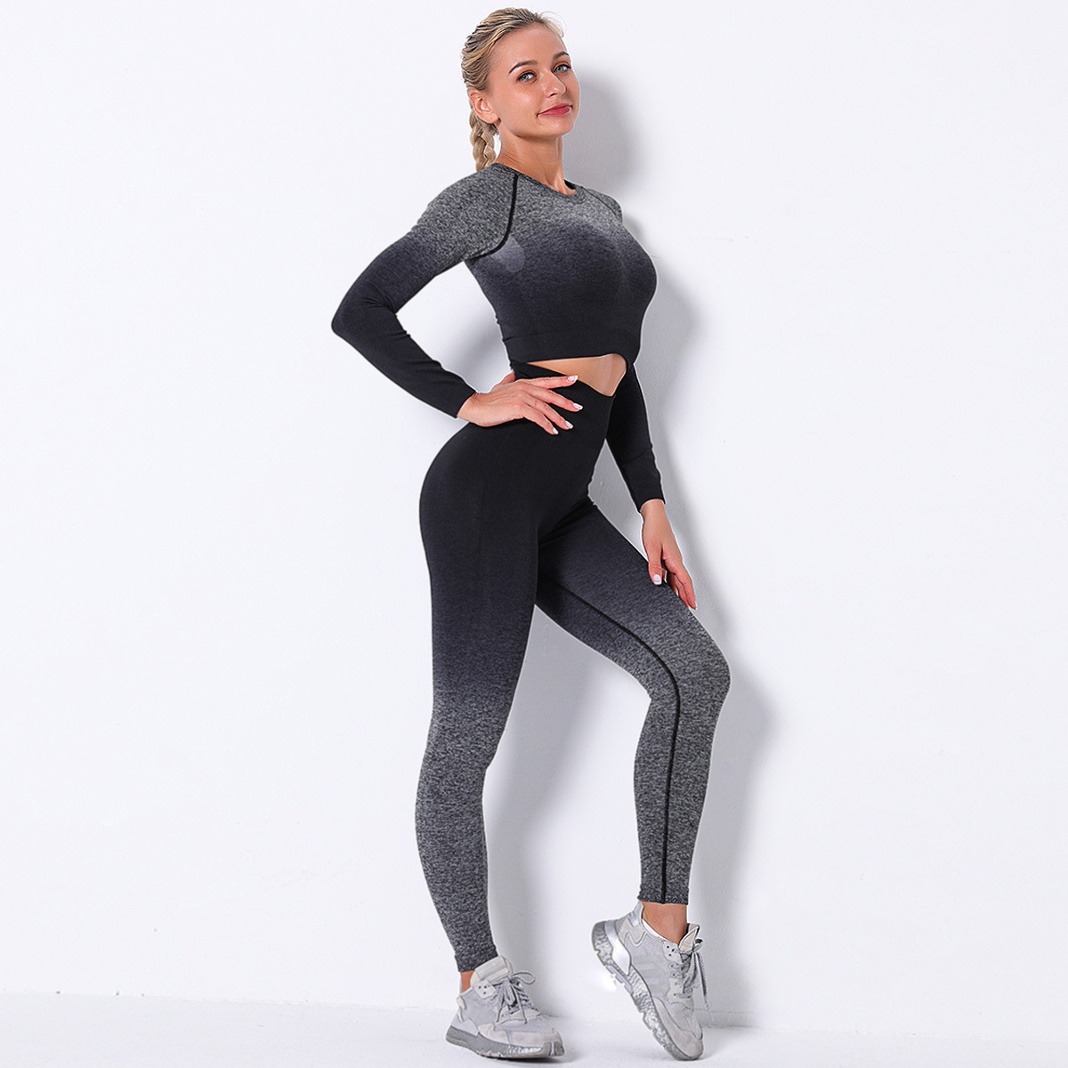 seamless knitted hang-dye gradient two-piece yoga suit NSLX9054