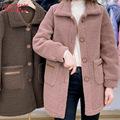 羊羔绒中长外套女2020秋冬仿羊羔毛颗粒韩版宽松显瘦加厚保暖大衣