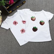 kids 2019新款棉中小童圆领儿童T恤 白色印花亮片童装短袖批发